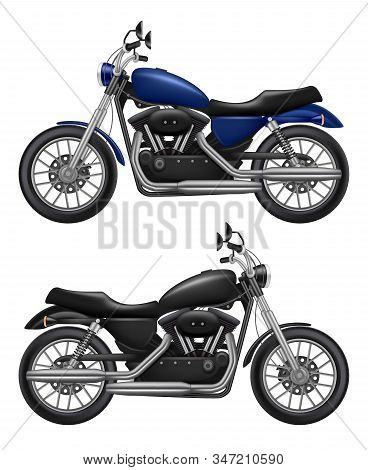 Motorcycle Realistic. Urban Transport Sport Motorbike Vintage Vehicle Vector High Quality Isolated I