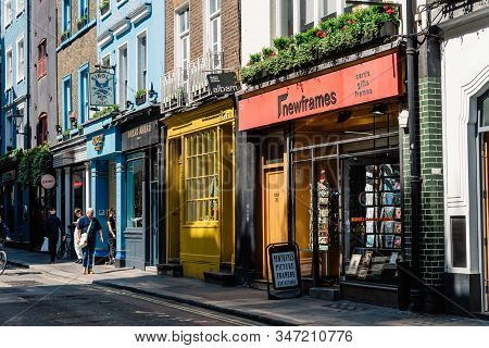 London, Uk - May 15, 2019: Shopping Street With Stores In Soho Near Carnaby Street. Carnaby Street Z
