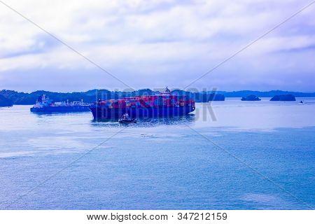 Panama Canal, Panama - December 7, 2019: Maersk Line Container Cargo Ship At Gatun Lake Near Panama
