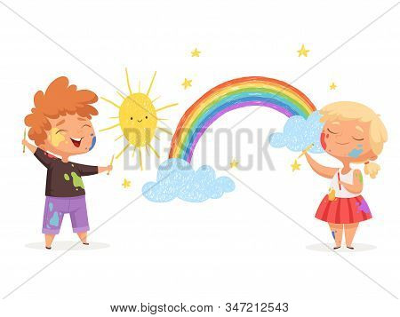Kids Draw Rainbow. Happy Little Artists Painting Sun Clouds Vector Funny Childrens. Artist Adorable