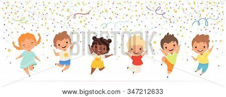 Kids Anniversary. Happy Childrens Jumping In Confetti Stars Celebration Fun Party Time Vector Teenag