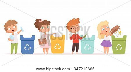 Kids Recycling Garbage. Saving Nature Ecology Safe Environment Protection Healthy Recycling Processe