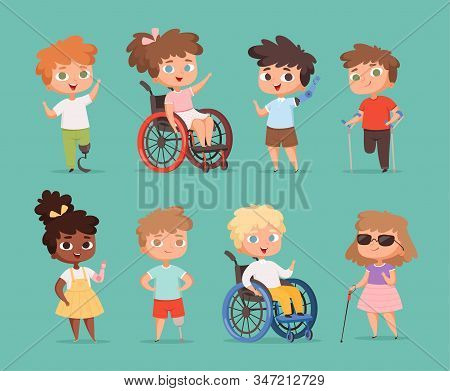 Disability Children. Kids Sitting In Wheelchairs Handicapped Little Persons In School Vector Cartoon