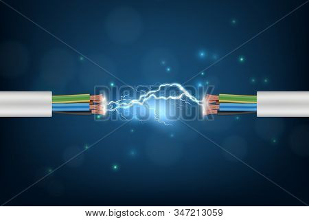 Electricity Cable. Connection Lighting Glowing Abstract Internet Cyber Concept Background Optical Co