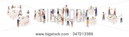 Cartoon Visitors At Social Event Isometric Vector Illustration. Corporate Banquet Party With Celebra
