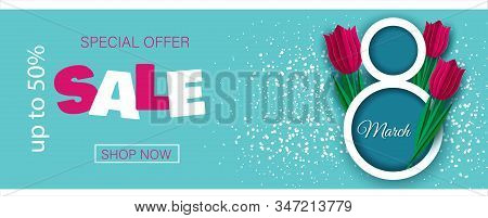 8 March Sale Invitations. Happy Womens Day Background Horizontal Banner Beautiful Holiday discount banner Vector Illustration. 8 march, womans day, womens day background, womens day banners, womens day flyer, womens day design, womens day with flowers on