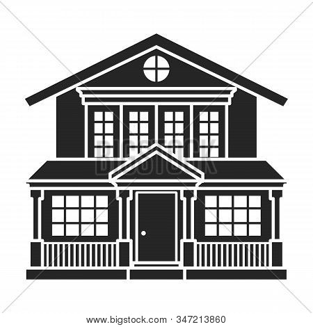 Villa Of House Vector Icon.black, Simple Vector Icon Isolated On White Background Villa Of House .