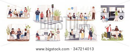 Set Of Disabled Cartoon People Care At Public Place Vector Flat Illustration. Collection Of Handicap