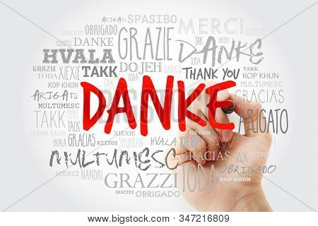 Danke (thank You In German) Word Cloud With Marker In Many Languages Of The World