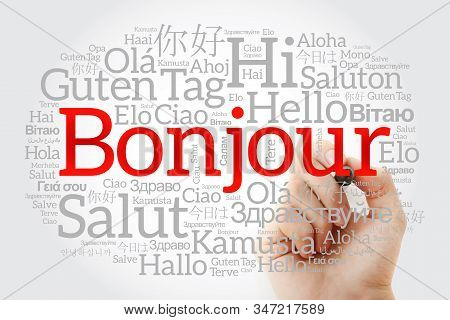 Bonjour (hello Greeting In French) Word Cloud In Different Languages Of The World With Marker, Backg