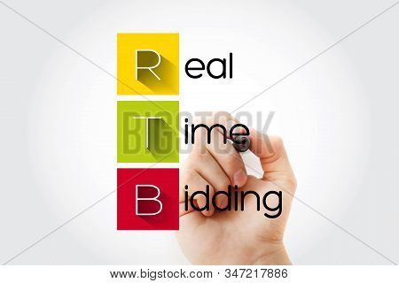 Rtb - Real-time Bidding Acronym With Marker, Business Concept Background
