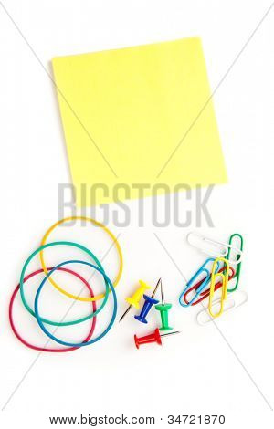 Stationery whose pushpins elastics paperclips adhesive notes