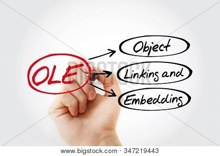 Ole - Object Linking And Embedding Acronym With Marker, Technology Concept Background
