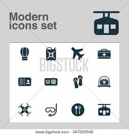 Tourism Icons Set With Bus Ticket, Certification, Flip Flops And Other Silverware Elements. Isolated