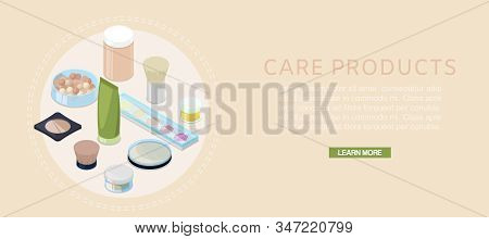 Cartoon Cosmetic Bottles And Skin Care Vector Illustration Banner. Cosmetic Cream Containers And Tub