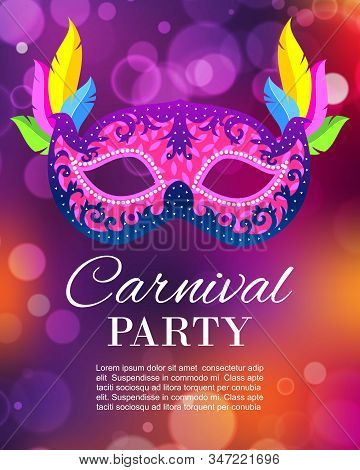 Carnival Party Or Masquerade Vector Illustration Poster. Carnival Glittering Night Party Background