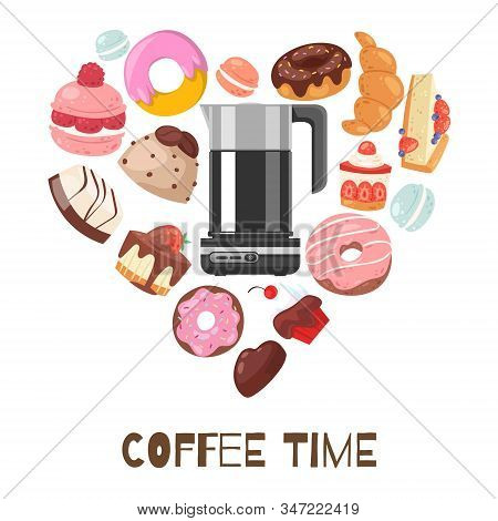 Coffee Break Heart Shape Vector Illustration With Chocolate Muffins, Biscuits, Donuts And Cakes, Swe