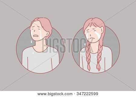 Crying, Children, Stress, Tears Concept. Crying, Unhappy Boy And Girl Show Negative Emotion Loud. Fr