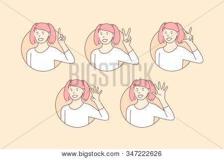 Teaching, Count, Basic, Numbers, Set. Happy, Positive Teenager Gesture Basic Counting Teaching. Youn