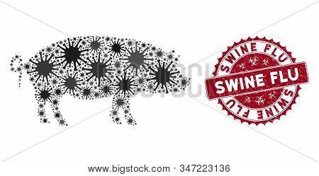 Coronavirus Collage Swine Icon And Round Grunge Stamp Seal With Swine Flu Phrase. Mosaic Vector Is F