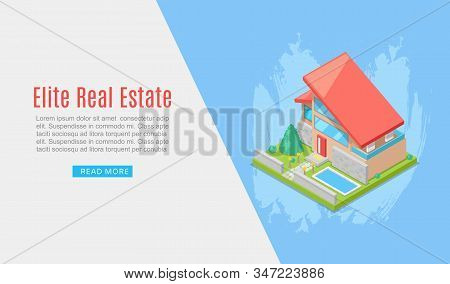 Elite House Or Cottage For Rent Or Sale In Flat Building Style Vector Illustration. Country House 3d
