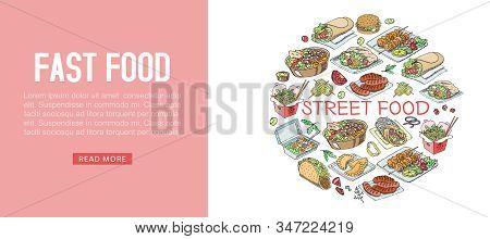 Fast Food Vector Illustration Web Banner. Fast Food Hamburger Dinner In Cafe Or Restaurant, Tasty Se