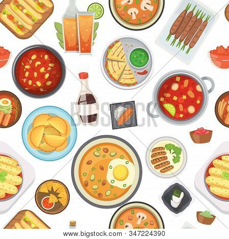 Dinner, Lunch And Fast Food Seamless Pattern, Vector Illustration. Junk Food And Healthy Dinner Back