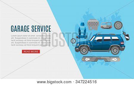 Garage Auto Service And Car Spares Top View Web Vector Template Illustration. Auto Diagnostics Test