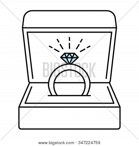 Wedding Ring In Gift Box Vector Sketch Icon Isolated On Background. Ring With Diamond As A Symbol Of