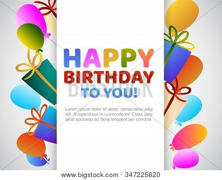 Colorful Bunch Of Happy Birthday Balloons Flying For Party And Celebrations And Gift Boxes With Text
