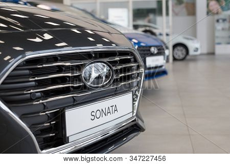Russia, Izhevsk - January 23, 2020: New Sonata And Other Cars In The Hyundai Showroom. Famous World