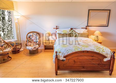 Beautiful and modern home and hotel bedroom interior design in a luxury house.