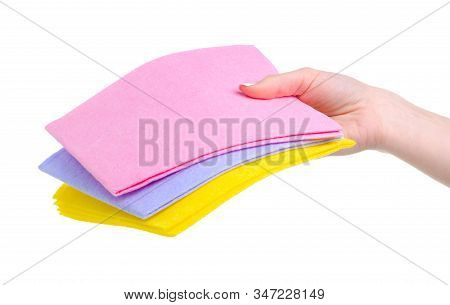 Colorful Rags Cleaning In Hand On White Background Isolation