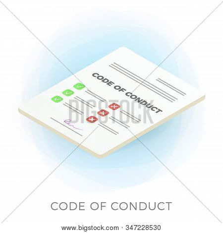 Code Of Conduct Isometric Vector Icon. Document With Concept Of Ethical, Values, Rules, Principles,