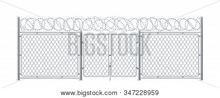 Metal Fence With Gate Or Chain Link Wall With Wicket And Barbed Wire. Military Or Army Construction