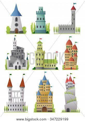 Flat Vector Set Of Large Fairy Tale Castles. Medieval Palaces With High Towers And Conical Roofs. Fo
