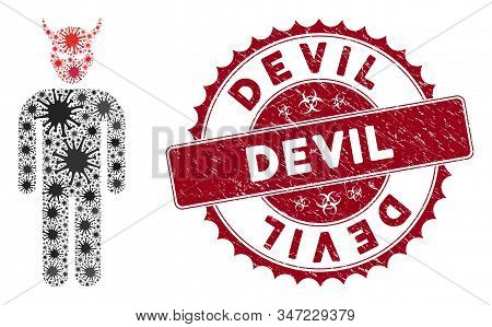 Coronavirus Collage Daemon Icon And Round Grunge Stamp Seal With Devil Phrase. Mosaic Vector Is Comp