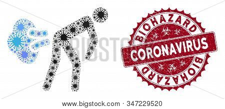 Coronavirus Mosaic Fart Gases Icon And Rounded Rubber Stamp Seal With Biohazard Coronavirus Phrase.