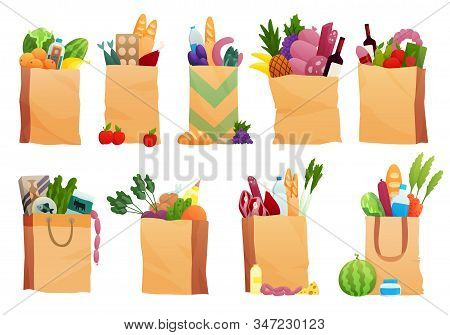 Set Of Paper Bag With Fresh Food - Vector Illustration In Flat Style. Different Food And Beverage Pr