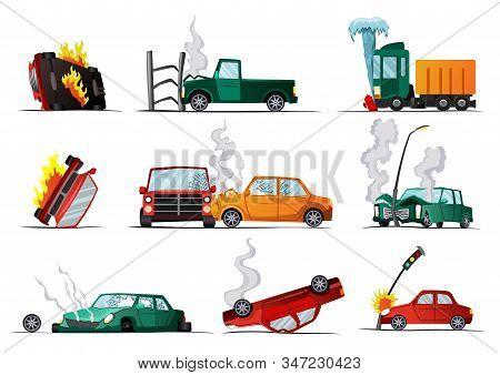 Accident On Road. Car Damaged Vehicle. Illustration Of Crash Vehicle, Damage Auto. Insurance Case. V