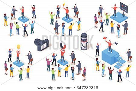 Opinion Leader, Audience Influencer, Vector Isometric Icons. Brand Marketing Campaign And Smm Social