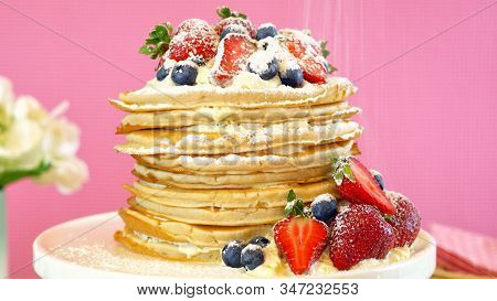 Pancake Tuesday Stack Of Pancakes Cake With Whipped Cream And Fresh Berries.