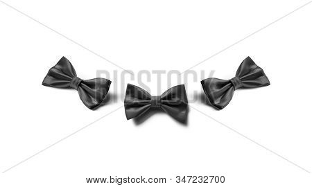 Blank Black Bow Tie Mockup Lying, Different Sides, 3d Rendering. Empty Official Neck Dress Mock Up,