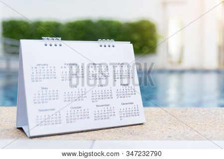 2019 Calendar Close Up Calendar Setting Timetable For Organize Schedule. Time Management Concept. Ca