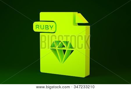 Yellow Ruby File Document. Download Ruby Button Icon Isolated On Green Background. Ruby File Symbol.