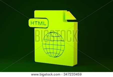 Yellow Html File Document. Download Html Button Icon Isolated On Green Background. Html File Symbol.