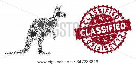 Coronavirus Mosaic Kangaroo Icon And Round Grunge Stamp Seal With Classified Text. Mosaic Vector Is