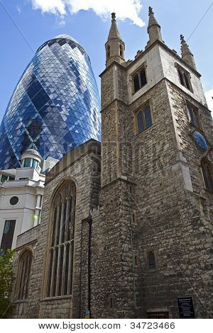St Andrew Undershaft Church And The Gherkin