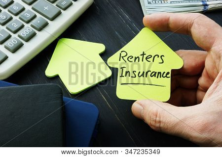 Renters Insurance Sign On The House Shaped Sheet.
