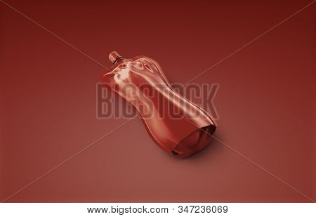 Blank Catsup Soft Bottle With Cap Mockup Lying, Red Background, 3d Rendering. Empty Flexible Foil Pa